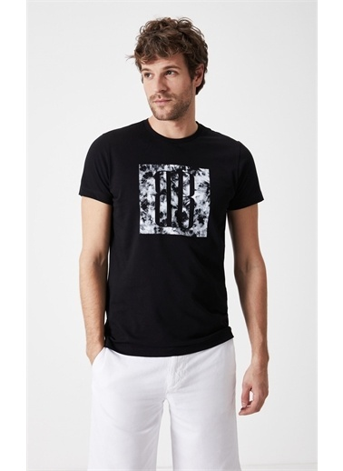 Boris Becker Kısa Kol Bisiklet Yaka Logo Baskılı Slim Fit Siyah Erkek Tshirt Siyah